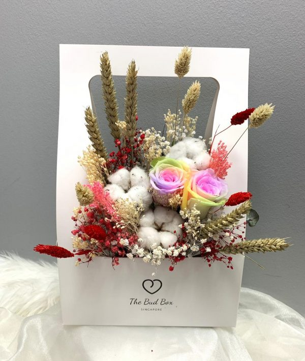 rainbow preserved rose flower box with fillers valentine's day