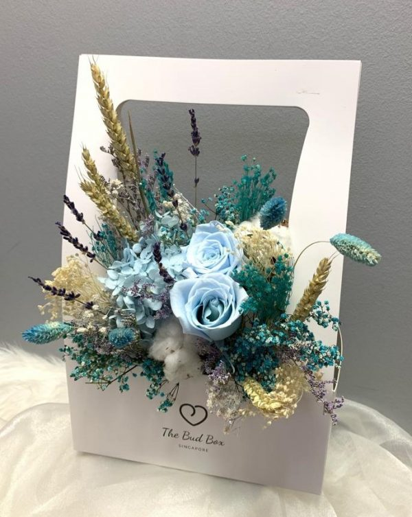 Preserved Blue Rose Flower Box Valentine's Day
