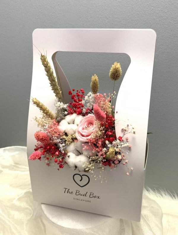 Pink Preserved Rose with Fillers Flower box for Valentine's Day
